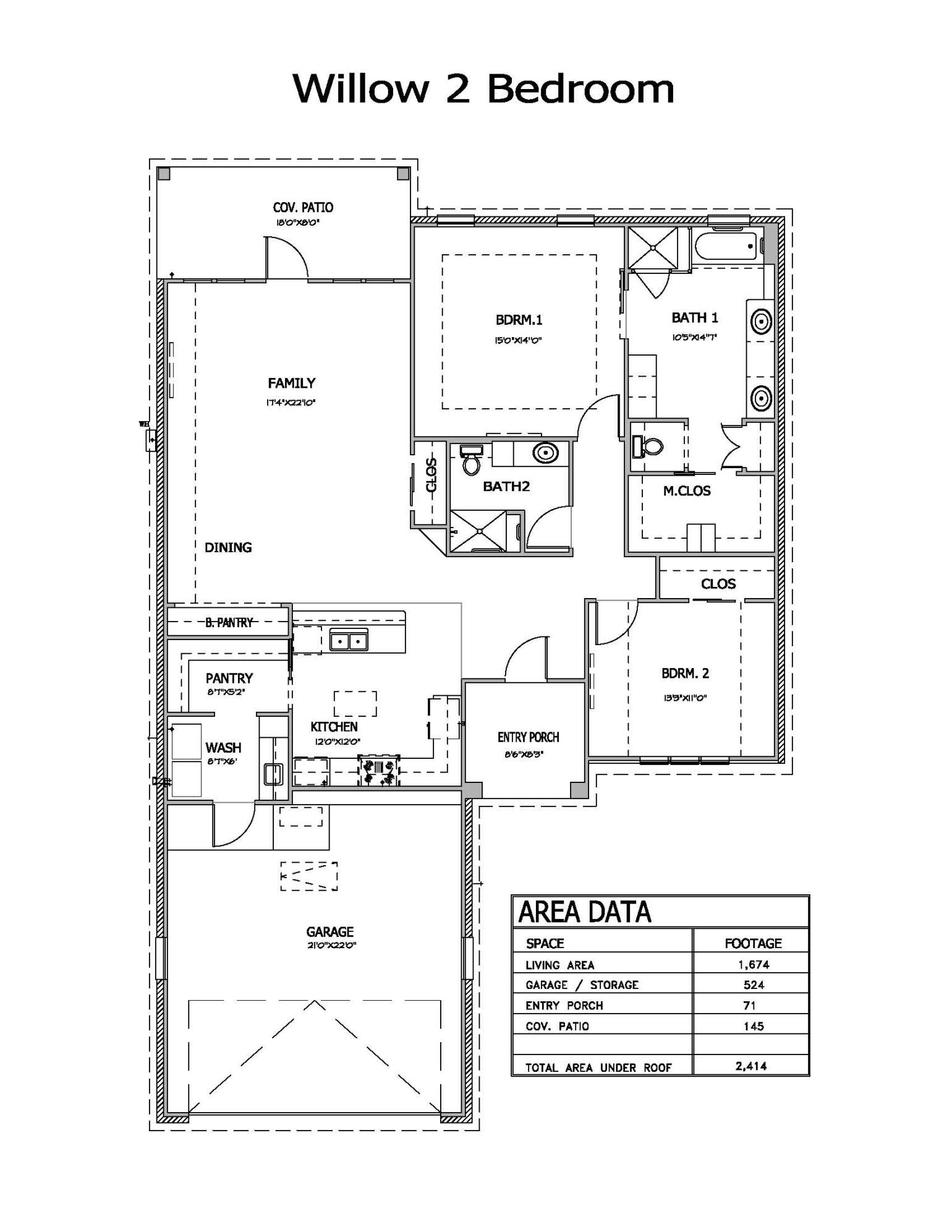 Willow 2 Bedroom Floor plan
